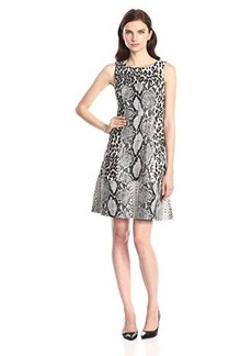 Tracy Reese Women's Animal Print Ponte Fit and Flare Dress, Multi, 10