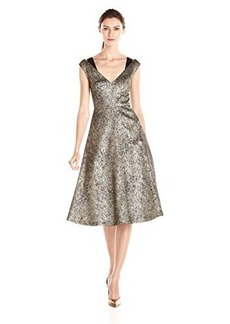 Tracy Reese Women's Antique Gold Stretch Lame Fit and Flare Frock Dress, Antique/Gold, 8