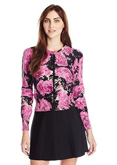 Tracy Reese Women's Beaded Floral-Print Cardigan Sweater