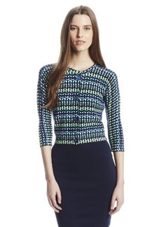 Tracy Reese Women's Blue Basket Weave Taped Cardigan Sweater, Blue Basket, Small