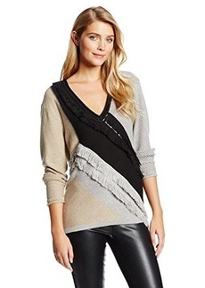 Tracy Reese Women's Colorblock Fringed Sweater