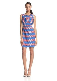 Tracy Reese Women's Combo Twist Printed Sleevelss Dress, Scarlet Lapis Zigzag, 12