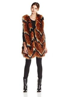 Tracy Reese Women's Contrast Foxy Fur Vest, Luggage, X-Small/Small