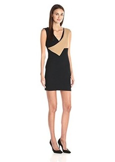 Tracy Reese Women's Contrast Surplice Sheath Dress, Black Combo, 4