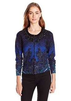 Tracy Reese Women's Embellished Paisley-Print Cardigan Sweater
