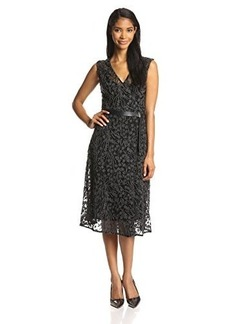 Tracy Reese Women's Embroidered Fit and Flare Belted Dress with Lace Back