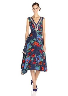 Tracy Reese Women's Extension Printed Fit and Flare Frock Dress, Vibrant Floral, 2