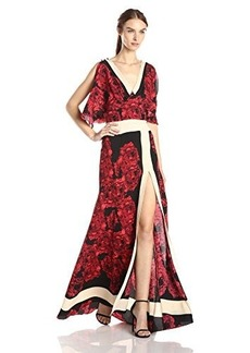Tracy Reese Women's Flared Long Maxi Dress, Red Floral, 4