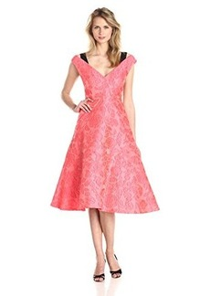 Tracy Reese Women's Floral Gossamer Cloque Dress, Flamingo Pink, 10