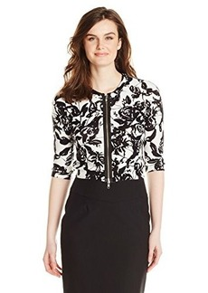 Tracy Reese Women's Floral Print Zip Cardigan Sweater