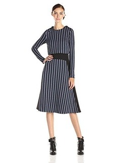 Tracy Reese Women's Gemini Long Sleeve Popover Dress, Navy/Grey Combo, 10