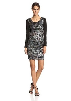 Tracy Reese Women's Abstract Jacquard Long Sleeve Contrast Dress, Black, 0