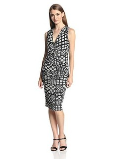 Tracy Reese Women's Jersey Geo-Print Sleeveless Surplice Dress