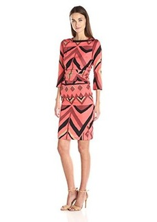 Tracy Reese Women's Laced Tee Dress, Cinnamon Geometric Wallpaper, 2