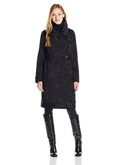 Tracy Reese Women's Leopard Funnel Neck Coat