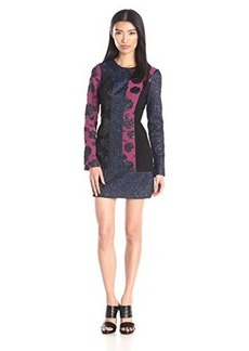 Tracy Reese Women's Long Sleeve Print Combo Dress, Multi, 12