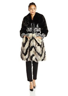 Tracy Reese Women's Multi Faceted Mod Floral Lace Coat, Black/Cassanova, Large