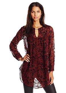 Tracy Reese Women's Pintuck Flocked Print Tunic Top, Port Linear Leaves, Small
