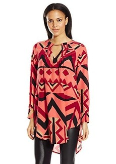Tracy Reese Women's Pintuck Tunic Top, Cinnamon Geometric Wallpaper, X-Small