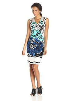 Tracy Reese Women's Print Sleeveless T Dress, Gouache Floral Combo, 0