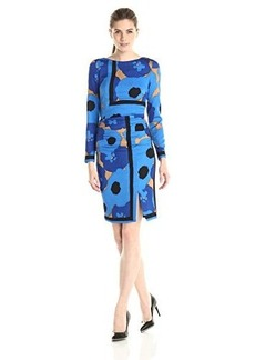 Tracy Reese Women's Printed Long Sleeve Placement Tee Dress, Blue Floral Scarf, 8