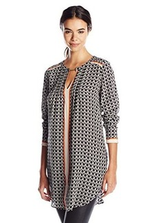 Tracy Reese Women's Printed Pintuck Tunic Top, Chain Foulard, Small