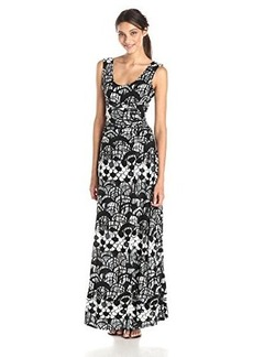 Tracy Reese Women's Print Jersey Maxi Dress, Black Scallop Fence, X-Small