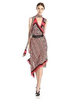 Tracy Reese Women's Scarf Surplice Print Belted Dress, Modular Foulard, Medium
