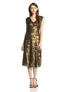 Tracy Reese Women's Sequin Fit and Flare Dress, Gold, 0