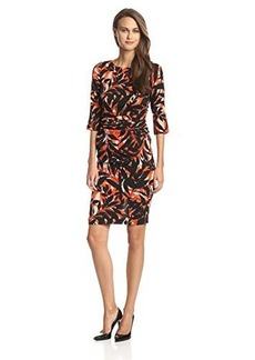 Tracy Reese Women's Crepe 3/4 Sleeve Dress, Shadow Leaf Scarf, 4