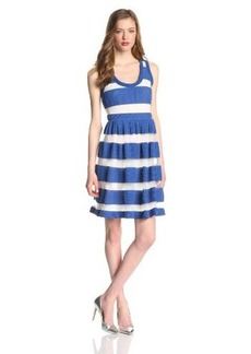Tracy Reese Women's Sheer Pique Striped Sleeveless Frock Dress, Bright Indigo, Large