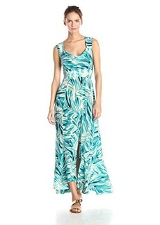 Tracy Reese Women's Silk Floral Print Maxi Dress, Bliss/Turquoise Fronds, 2