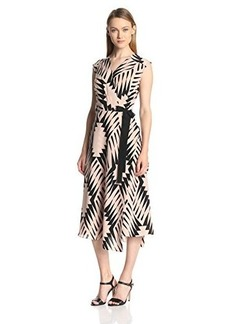 Tracy Reese Women's Silk Graphic Optimism Surplice Midi Dress