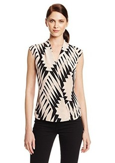Tracy Reese Women's Silk Graphic Optimism Surplice Sleeveless Blouse