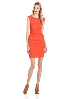 Tracy Reese Women's Silk Inset Sheath Dress, Persimmon, 4