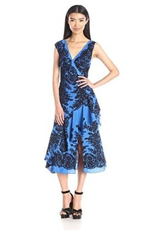 Tracy Reese Women's Sleeveless Printed Flounced Surplice Dress, Sapphire Lace Placement, 10