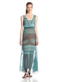 Tracy Reese Women's Stripe Print Handkerchief Hem Maxi Dress, Lagoon/Black, Medium