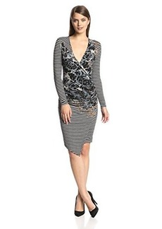 Tracy Reese Women's Striped Floral Long-Sleeve Jersey Dress