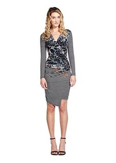 Tracy Reese Women's Striped Floral Long Sleeve Jersey Dress, Taupe, Medium