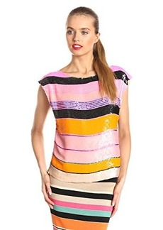 Tracy Reese Women's Striped Sequin Blouse