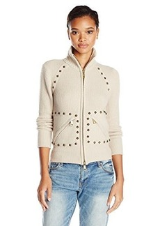 Tracy Reese Women's Stud Trimmed Sweater Jacket, Oatmeal, Large