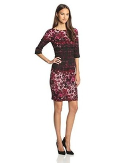 Tracy Reese Women's Warp Floral Crepe Three-Fourth Sleeve Dress