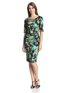 Tracy Reese Women's Warp Floral Peek-A-Boo T Dress