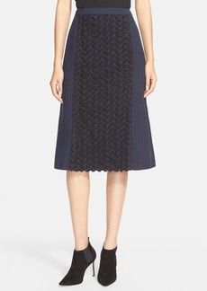 Tracy Reese Yarn Dyed Embellished Jacquard Skirt