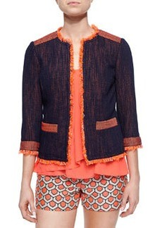 Trina Turk 3/4-Sleeve Tweed Jacket