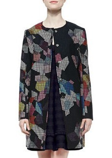 Trina Turk Adelle 2 Printed Snap-Front Topper Coat