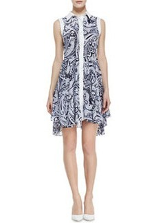 Trina Turk Allyson Paisley-Print High-Low Shirtdress