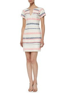 Trina Turk Angela Short-Sleeve Tweed Dress