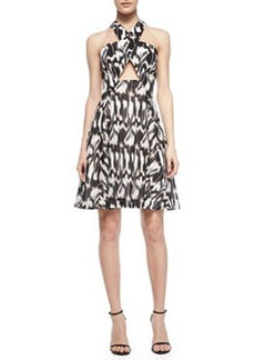 Trina Turk Bellicity Printed Cross-Neck Keyhole Dress