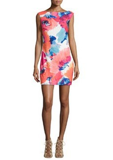 Trina Turk Cap-Sleeve Floral-Print Sheath Dress